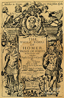 Achilles Photograph - Homer Title Page, 1616 by Granger