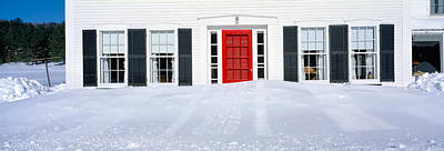 Homes In Winter Snow, Woodstock, Vermont Art Print by Panoramic Images