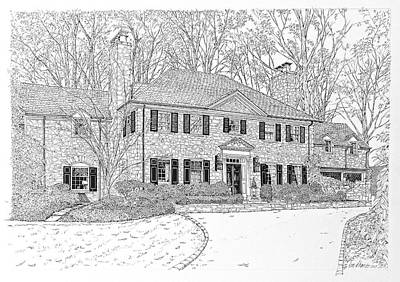 Drawing - Homes Of Philadelphia's Main Line by Ira Shander