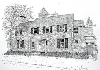 Drawing - Homes Of The Main Line by Ira Shander
