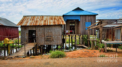 Homes On River Cambodia Art Print