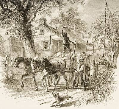 Horse And Cart Drawing - Homestead In Kansas In 1870s. From by Vintage Design Pics