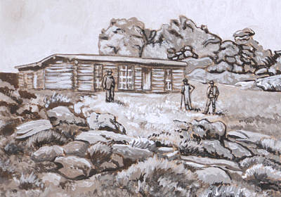 Painting - Homestead On Brush Creek Historical Vignette by Dawn Senior-Trask