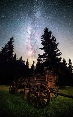 Photograph - Homestead Relic Under A Celestial Sky // Western Montana  by Nicholas Parker