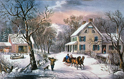 Painting - Homestead Winter, 1868 by Granger