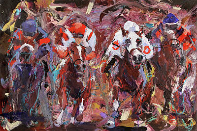 Horse Racing Painting - Homestretch by Ron Krajewski and Metro