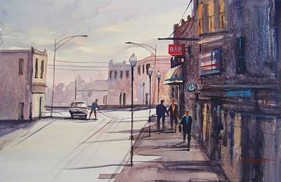 Watercolor Figure Painting - Hometown Shadows by Ryan Radke
