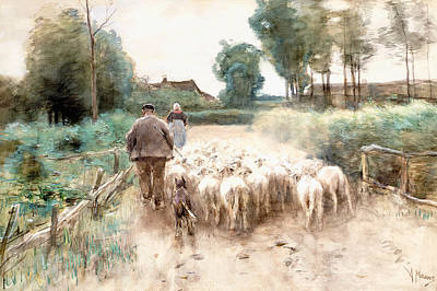 Shepherd Drawing - Homeward Bound by Anton Mauve