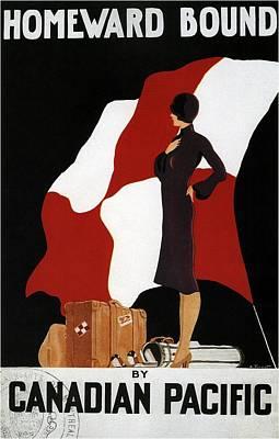 Mixed Media - Homeward Bound - Canadian Pacific - Retro Travel Poster - Vintage Poster by Studio Grafiikka