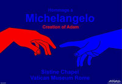 Hommage A Michelangelo  Art Print by Asbjorn Lonvig