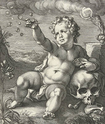 Baby Angel Drawing - Homo Bulla by Hendrik Goltzius