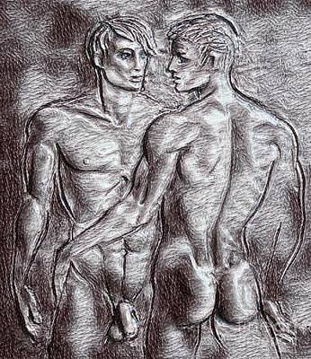 Sex Position Drawing - Homoerotic Drawing Two by Pd