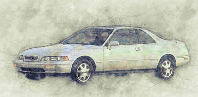 Mixed Media Royalty Free Images - Honda Acura Legend 1 - Executive Car - 1985 - Automotive Art - Car Posters Royalty-Free Image by Studio Grafiikka