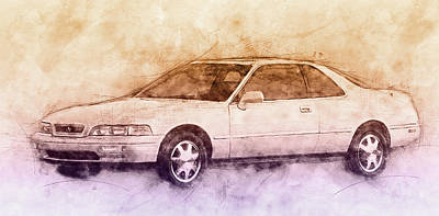 Mixed Media Royalty Free Images - Honda Acura Legend 2 - Executive Car - 1985 - Automotive Art - Car Posters Royalty-Free Image by Studio Grafiikka