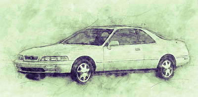 Mixed Media Royalty Free Images - Honda Acura Legend 3 - Executive Car - 1985 - Automotive Art - Car Posters Royalty-Free Image by Studio Grafiikka