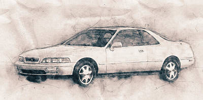 Transportation Mixed Media - Honda Acura Legend - Executive Car - 1985 - Automotive Art - Car Posters by Studio Grafiikka