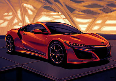 6 Mixed Media - Honda Acura Nsx 2016 Mixed Media by Paul Meijering