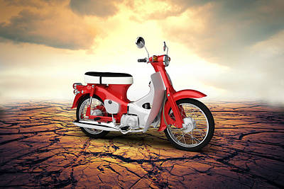 Honda Digital Art - Honda C50 Cub 1967 Desert by Aged Pixel