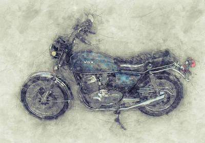 Nighttime Street Photography - Honda CB750 - Superbike 1 - 1969 - Motorcycle Poster - Automotive Art by Studio Grafiikka