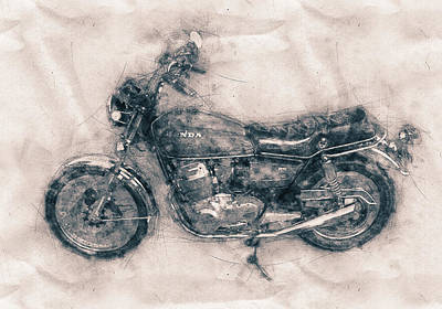 Mixed Media Royalty Free Images - Honda CB750 - Superbike - 1969 - Motorcycle Poster - Automotive Art Royalty-Free Image by Studio Grafiikka