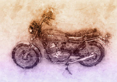 Mixed Media Royalty Free Images - Honda CB750 - Superbike 2 - 1969 - Motorcycle Poster - Automotive Art Royalty-Free Image by Studio Grafiikka
