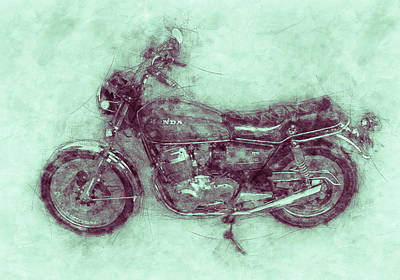 Mixed Media Royalty Free Images - Honda CB750 - Superbike 3 - 1969 - Motorcycle Poster - Automotive Art Royalty-Free Image by Studio Grafiikka