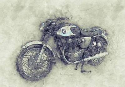 Mixed Media Royalty Free Images - Honda CB77 - Honda Motorcycles 1 - Motorcycle Poster - Automotive Art Royalty-Free Image by Studio Grafiikka