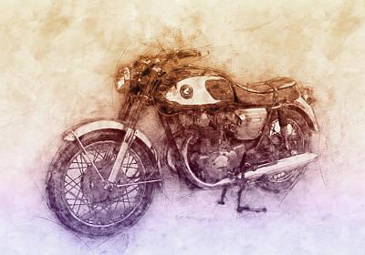 Mixed Media Royalty Free Images - Honda CB77 - Honda Motorcycles 2 - Motorcycle Poster - Automotive Art Royalty-Free Image by Studio Grafiikka