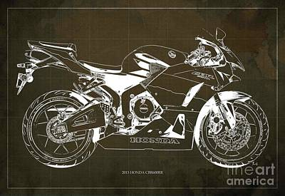 Honda Cbr600rr 2013 Blueprint, Brown Vintage Background Art Print by Pablo Franchi