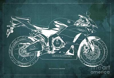 Art 2013 Digital Art - Honda Cbr600rr 2013 Blueprint, Green Vintage Background, Gift For Dad by Pablo Franchi