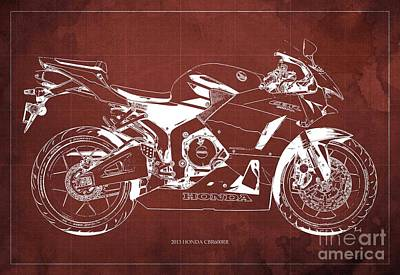 Honda Cbr600rr 2013 Blueprint, Red Vintage Background Art Print by Pablo Franchi