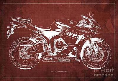 Honda Cbr600rr Blueprint, Red Vintage Background Art Print by Pablo Franchi