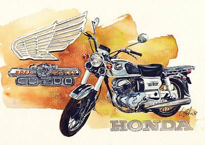 1971 Painting - Honda Cd200 Road Master by Yoshiharu Miyakawa