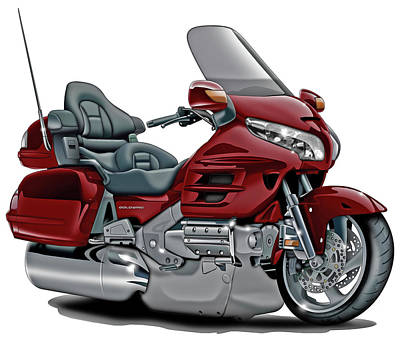 Honda Digital Art - Honda Goldwing Maroon Bike by Maddmax