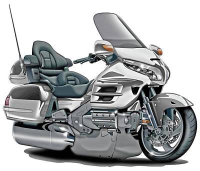 Honda Digital Art - Honda Goldwing White Bike by Maddmax