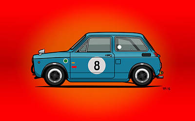 Crisis Mixed Media - Honda N600 Blue Kei Race Car by Monkey Crisis On Mars