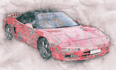 Transportation Mixed Media - Honda NSX 1 - Acura NSX - Sports Car - Automotive Art - Car Posters by Studio Grafiikka