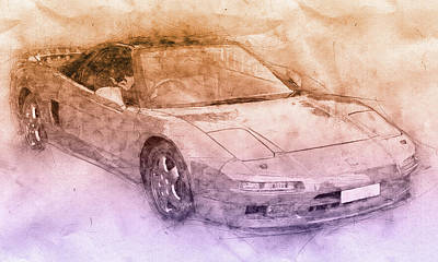 Transportation Mixed Media - Honda NSX 2 - Acura NSX - Sports Car - Automotive Art - Car Posters by Studio Grafiikka