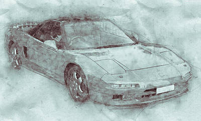 Transportation Mixed Media - Honda NSX 3 - Acura NSX - Sports Car - Automotive Art - Car Posters by Studio Grafiikka