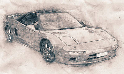 Transportation Mixed Media - Honda NSX - Acura NSX - Sports Car - Automotive Art - Car Posters by Studio Grafiikka