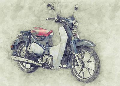 Mixed Media - Honda Super Cub 1 - Motor Scooters - 1958 - Motorcycle Poster - Automotive Art by Studio Grafiikka