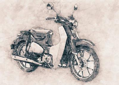 Mixed Media Royalty Free Images - Honda Super Cub - Motor Scooters - 1958 - Motorcycle Poster - Automotive Art Royalty-Free Image by Studio Grafiikka