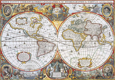 Hondius World Map, 1630 Art Print by Photo Researchers