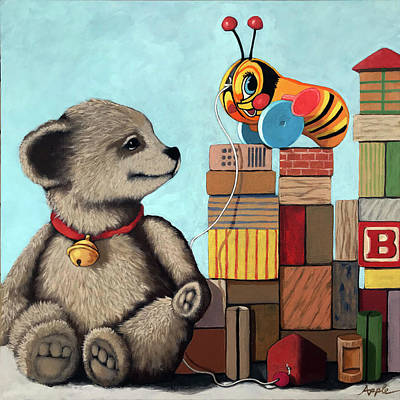 Painting - Honey Bear - Vintage Toys by Linda Apple