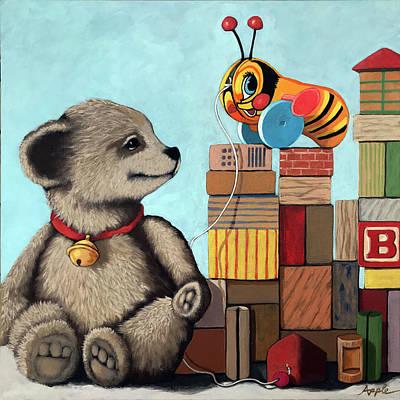 Painting - Honey Bear - Vintage Toys by Linda Apple