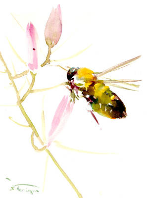 Keeper Painting - Honey Bee And Pink Flower by Suren Nersisyan