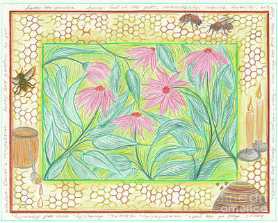 Drawing - Honey Bee Garden By Jrr by First Star Art