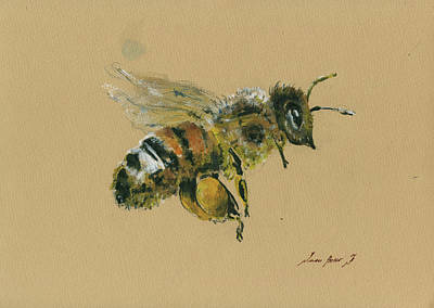 Bees Wall Art - Painting - Honey Bee by Juan Bosco
