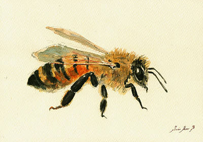 Bees Painting - Honey Bee Painting by Juan  Bosco