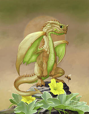 Art Print featuring the digital art Honey Dew Dragon by Stanley Morrison